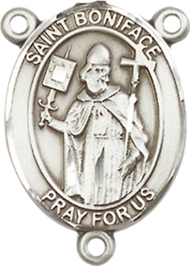 St  Boniface Sterling Silver Rosary Centerpiece